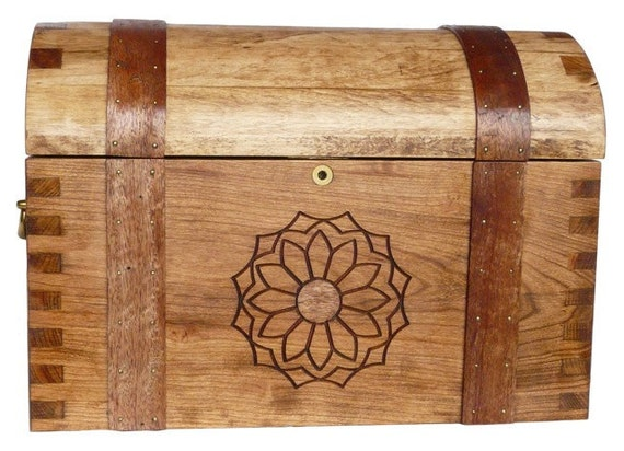 Handmade Maple or Cherry  Keepsake Chest with Steam Bent Walnut Strapping