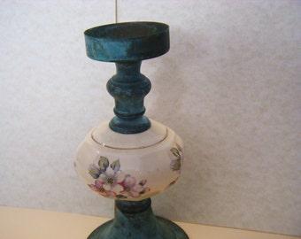 Porcelain Metal Candle Holder Vintage