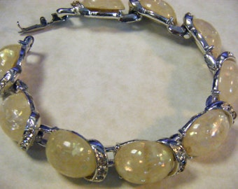 Vintage CORO Rhinestone and Yellow Stone Bracelet