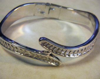 Vintage MONET 60s Silver Plated MONET Hinged Clamper Bracelet