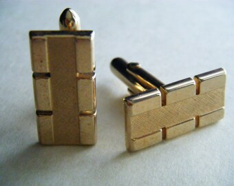 Cuff Links SWANK VINTAGE Gold Tone Bars