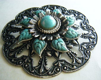 Brooch Pin Silver Tone Faux Turqouise
