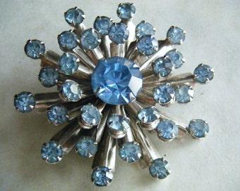 Brooch Rhinestones Blue