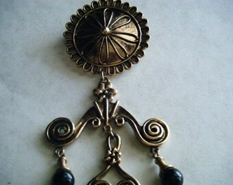 Vintage Brooch Metal with Beads