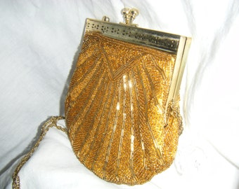 Evening Purse Gold Vintage with Chain
