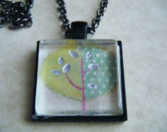 "Tree 1 in Black Pendant and 24"" Chain"