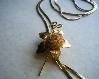 "Rose n Petals 22"" Necklace Gold Tone"