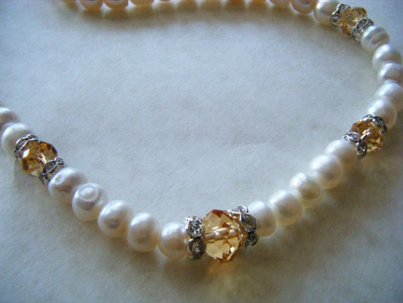 Vintage Necklace 70's Glass Pearl Crystal Bead Rondelle Rhinestone