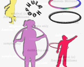 Hula Hoop Silhouette Graphics,  Stencils for Scrapbooking, Web Design or SVG Printer