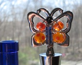 Butterfly Beaded Wine Bottle Stopper Blue & Orange -  stainless steel.