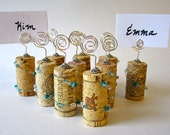 Tourquise Blue Wedding Place Card Holder Set of 10 - Glass beads and Crystals Wire Wrapped Wine Corks