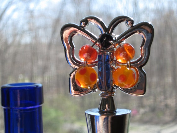 Butterfly Beaded Wine Bottle Stopper Blue & Orange -  stainless steel.