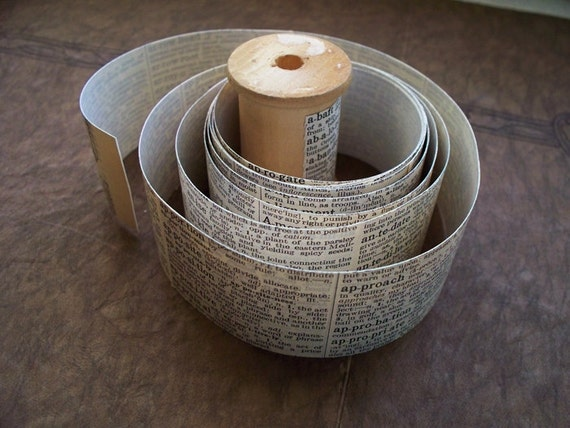 Vintage Dictionary Sticker Roll 6 foot by 1.5 inch in on vintage wooden spool Vintage Paper Tape ooak