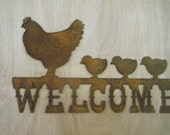 FREE SHIPPING Rusted Rustic Metal Welcome with Hens and Chicks Sign