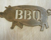 FREE SHIPPING Rusted Rustic Metal BBQ Pig Sign Sm