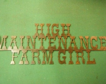 FREE SHIPPING Rusted Rustic Metal High Maintenance Farm Girl Sign