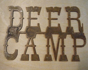 FREE SHIPPING Rusted Rustic Metal Deer Camp Sign