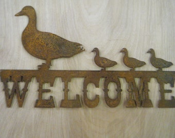 Rustic Metal Welcome with Ducks and ducklings Sign FREE SHIPPING