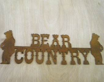 FREE SHIPPING Rusted Rustic Metal Bear Country with Bears Sign