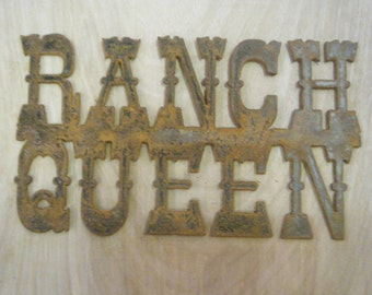 FREE SHIPPING Rusted Rustic Metal Ranch Queen Sign
