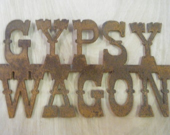FREE SHIPPING Rusted Rustic Metal Gypsy Wagon Sign