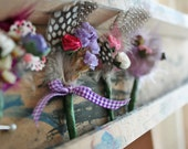 Set of 10 Purple and pink floral, feather Boutonnieres perfect for a Spring Summer Wedding