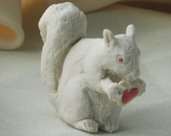 Albino Squirrel Eating Iced Valentine Heart Cookie Porcelain Miniature