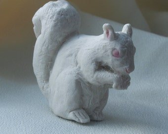 White Urban Squirrel Nibbling Something Porcelain Mini Animal