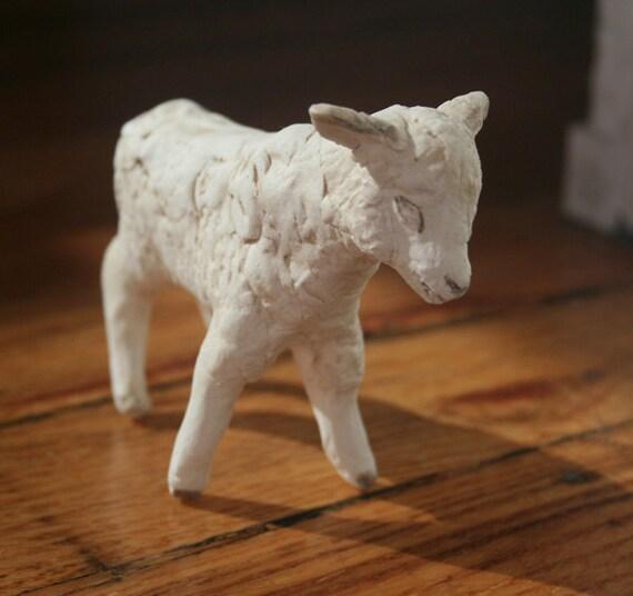 Handmade Porecelain Lamb Figurine