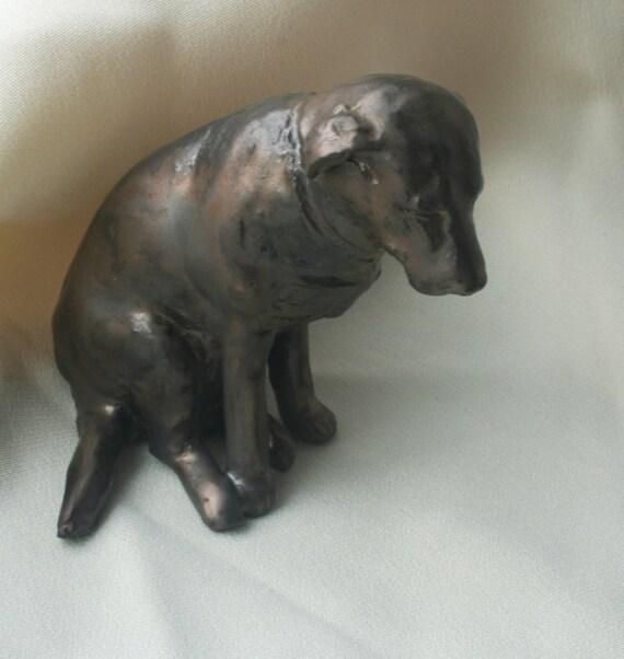 Black Lab Dog, Gunmetal Black Labrador Retriever Porcelain Miniature
