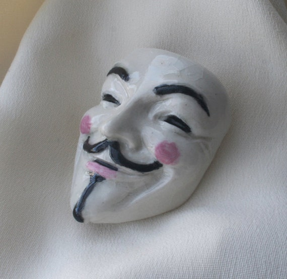 Guy Fawkes Mask Brooch, White Gloss, Occupy Your Lapel
