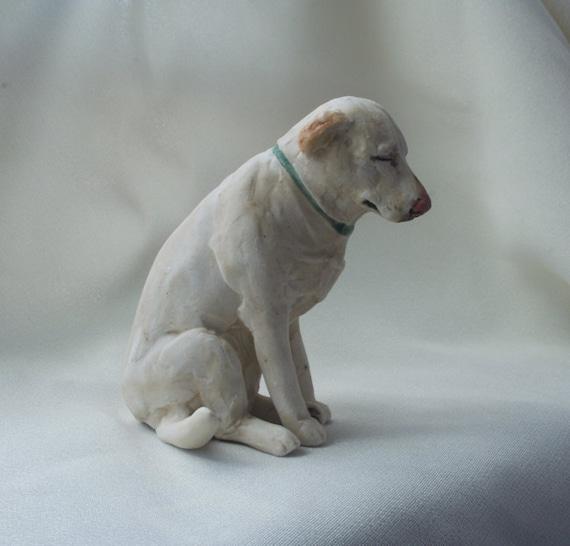 """Denver the Guilty Dog Sculpture, Yellow Lab, Miniature Porcelain """"Co-meme-orative"""" Animal Celebrity Portrait"""