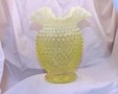 Fenton Topaz Yellow Opalescent Hobnail Ruffled 6 in Vase
