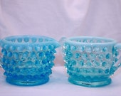 Fenton Blue Opalescent Hobnail Individual Cream and Sugar Set