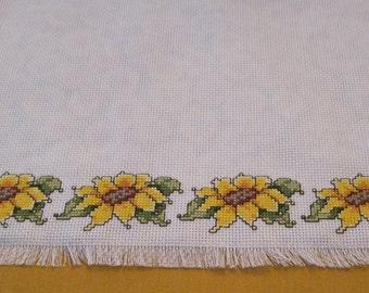 Sunflower Cross Stitch Table Runner - Reversible