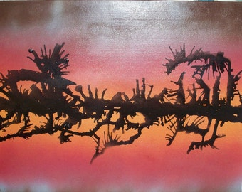 Sunset Sillouettes 16 x 20 Abstract Canvas Panel Art Painting