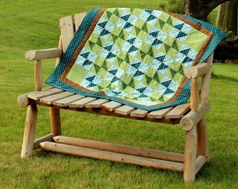 Quilt Blue and Green Aqua and Sage Baby Geometric Quilt for Baby Boy or Baby Girl