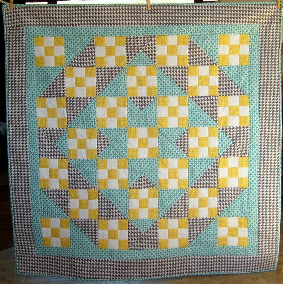 Baby Boy Quilt or Baby Girl Quilt - Gray Houndstooth, Teal and Goldenrod Modern