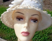 Vintage Beautiful Cream Crochet Lace Ribbon Linda Hat Union Made