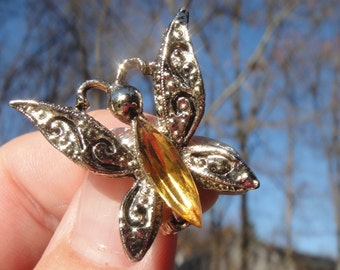 Vintage Silver Amber Stone Butterfly Brooch Pin