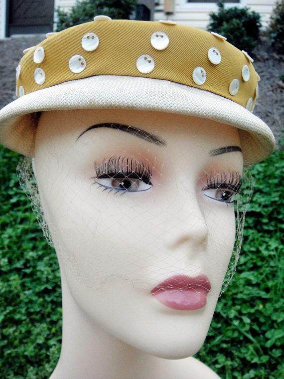 Vintage Ladies ADJ. Pill Box Veil Hat Gold with Ivory Pearl