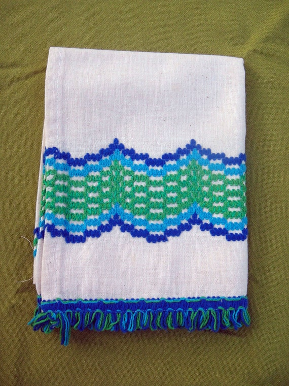 Vintage Blue Green Embroidered Kitchen Curtain