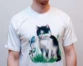 Novelty Cat Tshirt - Harmless Tshirt for caring men - Cat and bird - M