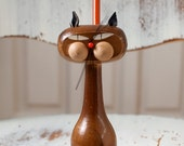 Vintage Mid Century Modern Wood Cat Pen/Pencil Holder