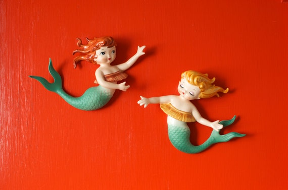 Mid Century Lefton Mermaid Set of 2 Wall Plaque Figurines
