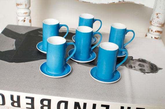 RESERVED For Yute Vintage La Gardo Tackett Blue MINI Espresso or Sake Cups w/Saucers Eames Era Atomic