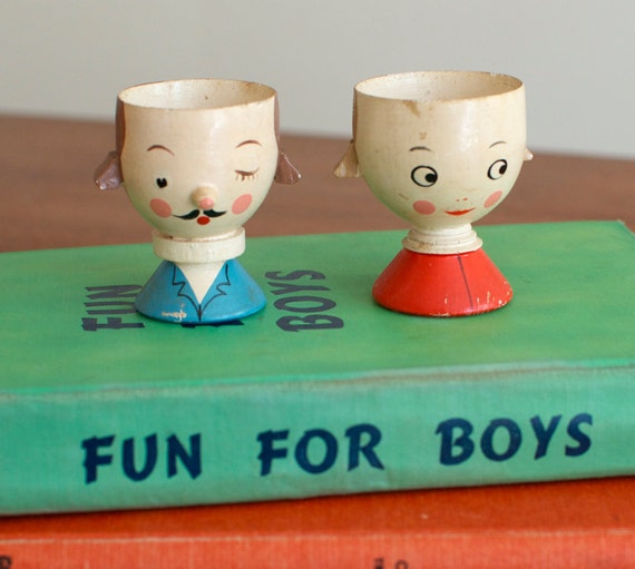 Vintage Italian Wooden Egg Cup Holders Boy and Girl Set of Two