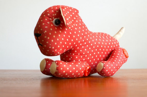 Vintage Dog Stuffed Animal - Polka Dot Red