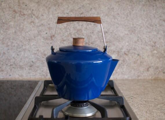 Rare Vintage Cathrineholm Enamelware Teapot - Cobult Blue