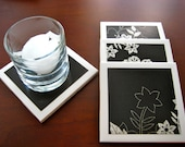 Ceramic Tile Coasters Black and White Flowers (Set of 4)